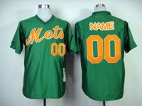Mens Mlb New York Mets Custom Made Green Pullover Throwbacks Jersey