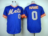 Mens Mlb New York Mets Custom Made Blue Pullover Throwbacks Jersey