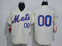 Mens Mlb New York Mets Custom Made Cream Stripe Button Hrowbacks Jersey
