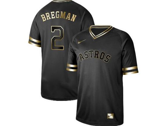 Mens Mlb Houston Astros #2 Alex Bregman Black Gold V Neck Cool Base Nike Jersey