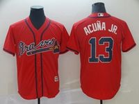 Mens Mlb Atlanta Braves #13 Acuna Jr Red 2019 Cool Base Jersey