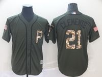 Mens Mlb Pittsburgh Pirates #21 Roberto Clemente Green (camo Number) Cool Base Jersey