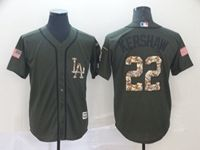 Mens Mlb Los Angeles Dodgers #22 Clayton Kershaw Green (camo Number) Cool Base Jersey