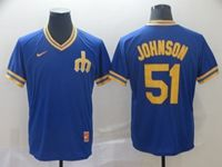 Mens Mlb Seattle Mariners #51 Johnson Blue Cooperstown Collection Legend V Neck Cool Base Nike Jersey