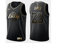 Mens Nba Los Angeles Lakers #23 Lebron James Black Golden Edition Swingman Jersey