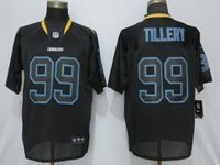 Mens 2019 Nike Los Angeles Chargers #99 Jerry Tillery Black Lights Out Elite Jersey
