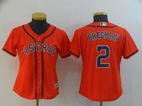 Women Youth Mlb Houston Astros #2 Alex Bregman Orange Cool Base Jersey