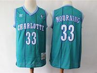 Mens Charlotte Hornets #33 Alonzo Mourning Green Mitchell&ness 1992-93 Hardwood Classics Swingman Jersey