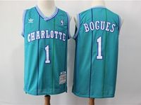 Mens Nba Charlotte Hornets #1 Muggsy Bogues  Teal Mitchell&ness 1992-93 Hardwood Classics Swingman Jersey