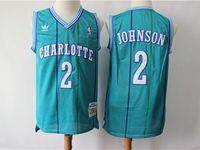 Mens Nba Charlotte Hornets #2 Larry Johnson  Teal Mitchell&ness 1992-93 Hardwood Classics Swingman Jersey