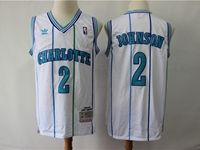 Mens Nba Charlotte Hornets #2 Larry Johnson White Mitchell&ness 1992-93 Hardwood Classics Swingman Jersey