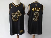 Mens Nba Miami Heat #3 Dwyane Wade Black Gold Collection Limited Edition Jersey