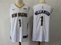 Mens New Orleans Hornets #1 Williamson White Cool Base Jersey