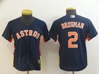 Women Youth Mlb Houston Astros #2 Alex Bregman Navy Blue Cool Base Player Jersey