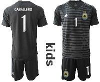 Youth Soccer 19-20 Argentina National Team #1 Willy Caballero Black Goalkeeper Short Sleeve Suit Jersey