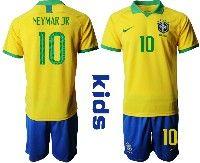 Youth Soccer19-20 Brazil National Team #10 Neymar Jr Yellow Home Short Sleeve Suit Jersey