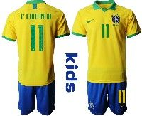 Youth Soccer19-20 Brazil National Team #11 Philippe Coutinho Yellow Home Short Sleeve Suit Jersey