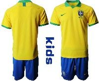Youth Soccer19-20 Brazil National Team Custom Made Yellow Home Short Sleeve Suit Jersey
