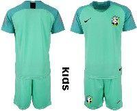 Youth Soccer19-20 Brazil National Team Custom Made Light Green Goalkeeper Short Sleeve Suit Jersey