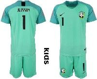 Youth Soccer19-20 Brazil National Team #1 Alisson Light Green Goalkeeper Short Sleeve Suit Jersey