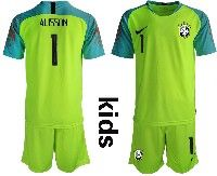 Youth Soccer19-20 Brazil National Team #1 Alisson Green Goalkeeper Short Sleeve Suit Jersey