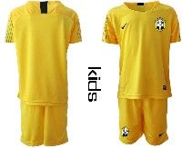 Youth Soccer19-20 Brazil National Team Custom Made Yellow Goalkeeper Short Sleeve Suit Jersey