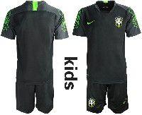 Youth Soccer19-20 Brazil National Team Custom Made Black Goalkeeper Short Sleeve Suit Jersey