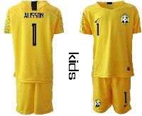 Youth Soccer19-20 Brazil National Team #1 Alisson Yellow Goalkeeper Short Sleeve Suit Jersey
