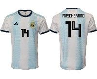 Mens 19-20 Soccer Argentina National Team #14 Javier Mascherano Adidas White Home Jersey