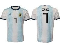 Mens 19-20 Soccer Argentina National Team #7 Mauro Icardi Adidas White Home Short Sleeve Jersey