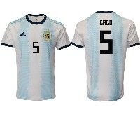 Mens 19-20 Soccer Argentina National Team #5 Fernando Gago Adidas White Home Short Sleeve Jersey