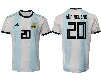 Mens 19-20 Soccer Argentina National Team #20 Kun Aguero Adidas White Home Short Sleeve Jersey