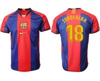Mens 19-20 Soccer Barcelona Club #18 Jordialba Red And Blue Stripe Home Thailand Jersey