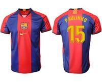 Mens 19-20 Soccer Barcelona Club #15 Paulinho Red And Blue Stripe Home Thailand Jersey