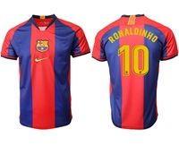 Mens 19-20 Soccer Barcelona Club #10 Ronaldinho Red And Blue Stripe Home Thailand Jersey