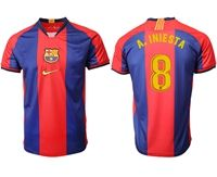 Mens 19-20 Soccer Barcelona Club #8 Andres Iniesta Red And Blue Stripe Home Thailand Jersey