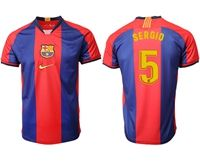 Mens 19-20 Soccer Barcelona Club #5 Sergio Busquets Red And Blue Stripe Home Thailand Jersey