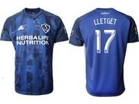 Mens 19-20 Soccer Galaxy Club #17 Sebastian Lletget Blue Away Short Sleeve Thailand Jersey