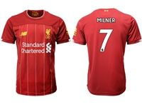 Mens 19-20 Soccer Liverpool Club #7 James Milner Red Home Jersey