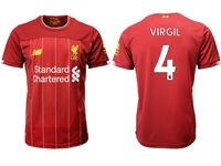 Mens 19-20 Soccer Liverpool Club #4 Virgil Red Home Jersey