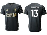 Mens 19-20 Soccer Liverpool Club #13 Alisson Black Jersey