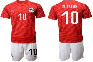 Mens 19-20 Soccer Egypt National Team #10 Mohamed Salah Red Home Short Sleeve Suit Jersey