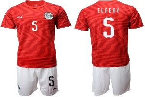 Mens 19-20 Soccer Egypt National Team #5 Elneny Red Home Short Sleeve Suit Jersey