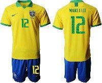 Mens 19-20 Soccer Brazil National Team #12 Marcelo Yellow Home Short Sleeve Suit Jersey