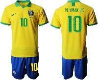 Mens 19-20 Soccer Brazil National Team  #10 Neymar Jr Yellow Home Short Sleeve Suit Jersey
