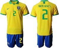 Mens 19-20 Soccer Brazil National Team #2 Dani Alves Yellow Home Short Sleeve Suit Jersey