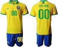 Mens 19-20 Soccer Brazil National Team ( Custom Made ) Yellow Home Short Sleeve Suit Jersey