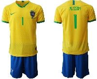 Mens 19-20 Soccer Brazil National Team #1 Alisson Yellow Home Short Sleeve Suit Jersey