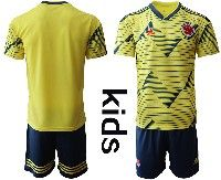 Youth Soccer 19-20 Colombia National Team Custom Made Yellow Home Short Sleeve Suit Jersey