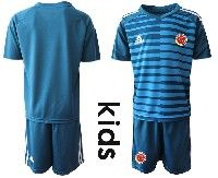 Youth Soccer 19-20 Colombia National Team Custom Made Blue Goalkeeper Short Sleeve Suit Jersey